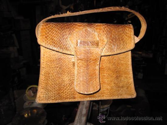 Antigüedades: ANTIGUO BOLSO DE PASEO DE SEÑORA EN PIEL DE SERPIENTE - APROX 1950/60 - MUY BIEN CONSERVADO - Foto 2 - 23662471
