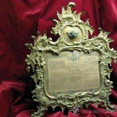 Antigüedades: IMPRESIONANTE SACRA DE ALTAR GRAN TAMAÑO, BRONCE. SG.XIX. MIDE 55 X 46 CM. SOPORTE TRASERA.. Lote 26194089