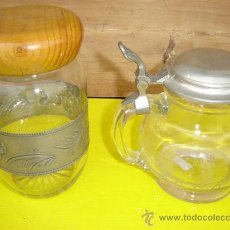 Antigüedades: JARRA Y BOTE DE CRISTAL LABRADO. Lote 10932936