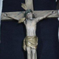 Antigüedades: CRISTO EN MADERA POLICROMADA SIGLO XIX. Lote 93402914