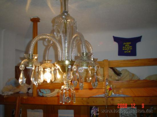 LAMPARA CRISTAL, 4 BRAZOS (Antigüedades - Iluminación - Lámparas Antiguas)