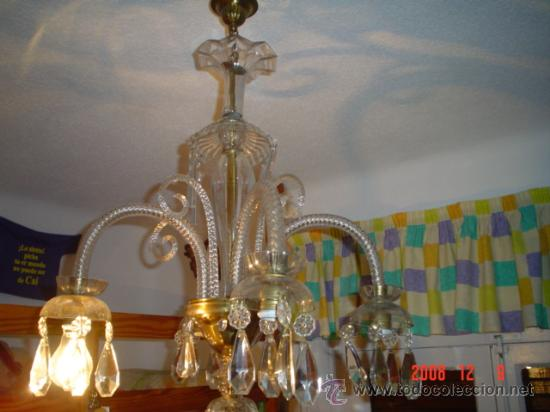 Antigüedades: LAMPARA CRISTAL, 4 BRAZOS - Foto 2 - 26646609