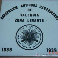Oggetti Antichi: AZULEJO AGRUPACION ANTIGUOS CARABINEROS ZONA LEVANTE 1936-1939. Lote 11162696
