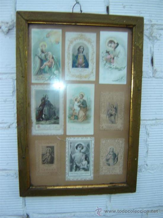 MARCO ANTIGUO CON POSTALES RELIGIOSA (Antigüedades - Religiosas - Varios)