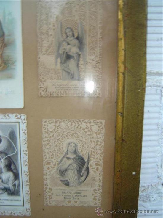 Antigüedades: marco antiguo con postales religiosa - Foto 2 - 11195120