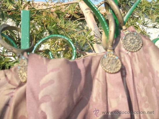 Antigüedades: cortinas damasco de seda (dos pares) - Foto 3 - 21699389