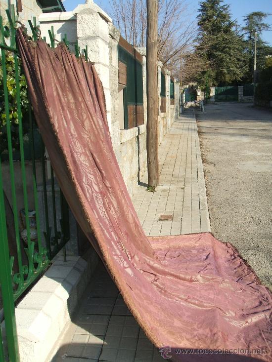 Antigüedades: cortinas damasco de seda (dos pares) - Foto 4 - 21699389