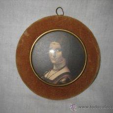 Antigüedades: ANTIGUO MARCO EN TELA CON ADORNO EN LATON . Lote 26117654