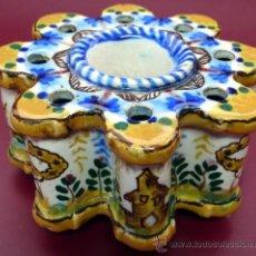 Antigüedades: TALAVERA - ANTIGUO TINTERO LOBULADO OCTOGONAL. Lote 26515756