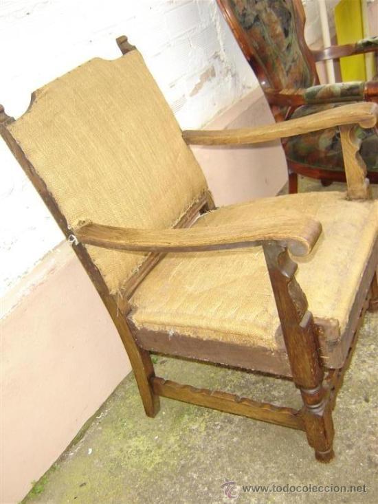 Antigüedades: sillon de roble antiguo para tapizar - Foto 2 - 11400622