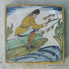 Antigüedades: AZULEJO CATALAN -EPOCA 1900- PESCADOR. Lote 18829956