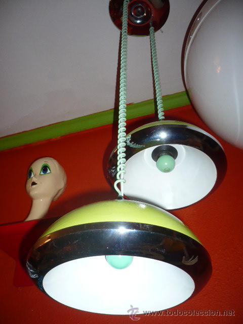LAMPARA DOBLE CAMPANA METAL DISEÑA RETRO-LAMPARAS (Antigüedades - Iluminación - Lámparas Antiguas)