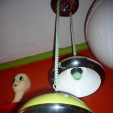 Antigüedades: LAMPARA DOBLE CAMPANA METAL DISEÑA RETRO-LAMPARAS. Lote 11434911