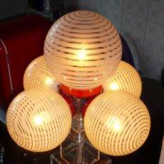 Antigüedades: LAMPARA SOBREMESA STILO SPUTNIK TULIPAS PINTADAS A MANO. DISEÑA RETRO-LAMPARAS . Lote 11434931