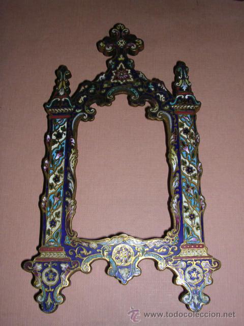 MARCO DE BRONCE Y ESMALTES(CLAUSONER) ANTIGUO.19X10 CM.. (Antigüedades - Hogar y Decoración - Portafotos Antiguos)