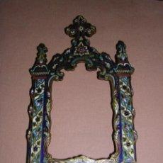 Antigüedades: MARCO DE BRONCE Y ESMALTES(CLAUSONER) ANTIGUO.19X10 CM... Lote 11516570