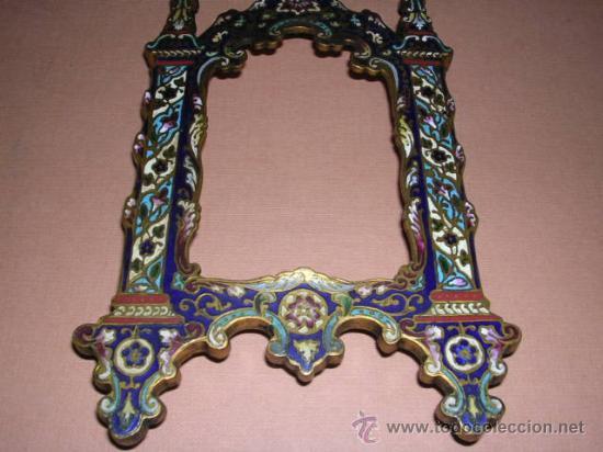 Antigüedades: MARCO DE BRONCE Y ESMALTES(CLAUSONER) ANTIGUO.19X10 CM.. - Foto 3 - 11516570