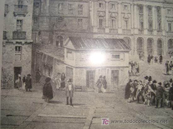 Antigüedades: lamina enmarcada, plaza de la constitucion y ayuntamiento. dibujo de chapuy del siglo xix - Foto 2 - 11579682
