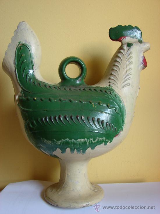 BOTIJO ANTIGUO CON FORMA DE GALLO (Antigüedades - Porcelanas y Cerámicas - Otras)