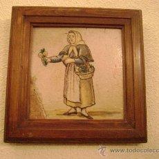 Antigüedades: AZULEJO VALENCIANO DE FIGURA ENMARCADO. Lote 180901826