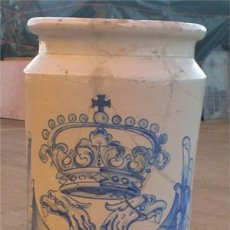 Antigüedades: ANTIGUO PARAGUERO O JARRON DE TALAVERA. MEDIDA 60CM X 23 CM DE DIAMETRO.. Lote 23480040