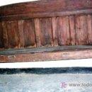 Antigüedades: ESCAÑO ANTIGUO CASTELLANO. . MEDIDAS: 180X60X110. CM. VER DESCRIPCIONES Y FOTOS.. Lote 26514078