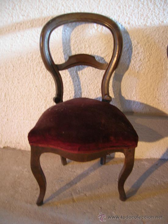 Antigüedades: Tresillo o sofa isabelino de nogal con dos sillas a juego, tercer cuarto del S. XIX - Foto 3 - 36789720