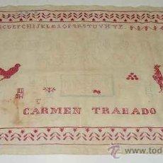 Antigüedades: ANTIGUO ABECEDARIO - CARMEN TRABADO - LABORES DE ARTESANIA, ABECEDARIO BORDADO A MANO EN PUNTO DE CR. Lote 27639481