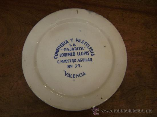 PLATO DE LA PASTELERIA LA PAJARITA (Antigüedades - Porcelanas y Cerámicas - Manises)