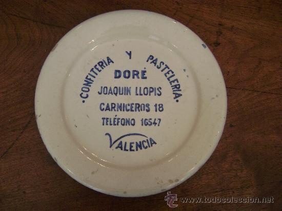 PLATO DE LA PASTELERIA DORE (Antigüedades - Porcelanas y Cerámicas - Manises)