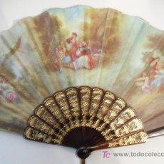 Antigüedades: ABANICO TELA PINTADA Y VARILLAS PUEDEN SER CAREY. Lote 12066287