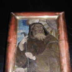 Antigüedades: BORBADO SAN FRANCISCO DE PAULA, ENMARCADO DE EPOCA S.XVIII-16X13 CM.. Lote 26859544