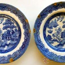 Antigüedades: SAN JUAN DE AZNALFARACHE - DOS PLATOS HONDOS AZULES - WILLOW . Lote 12977438