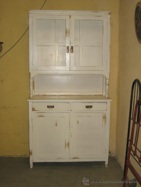 Aparador de dos cuerpos lacado en blanco comprar aparadores antiguos en todocoleccion 27352656 - Muebles antiguos lacados en blanco ...