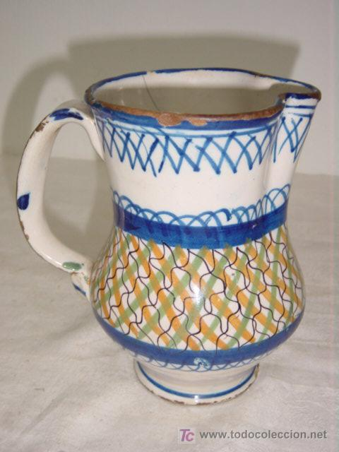 JARRA DE MANISES SIGLO XIX AZUL Y AMARILLO FIRMADA ARENAS (Antigüedades - Porcelanas y Cerámicas - Manises)