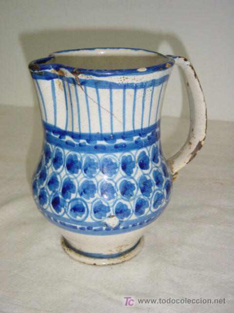 Antigüedades: JARRA DE MANISES SIGLO XIX AZUL - Foto 2 - 27485499