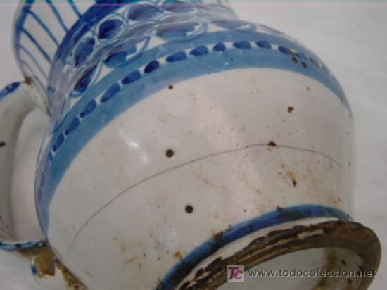 Antigüedades: JARRA DE MANISES SIGLO XIX AZUL - Foto 4 - 27485499