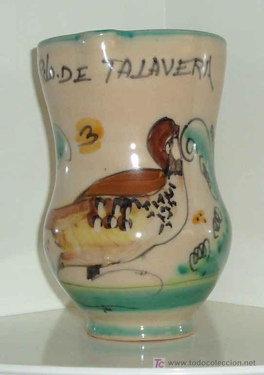 JARRA CERÁMICA TALAVERA. MOTIVO PERDIZ. ALTURA 14,5 CM (Antigüedades - Porcelanas y Cerámicas - Talavera)