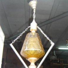 Antigüedades: LAMPARA DE COBRE Y TULIPA CRISTAL. Lote 12231983