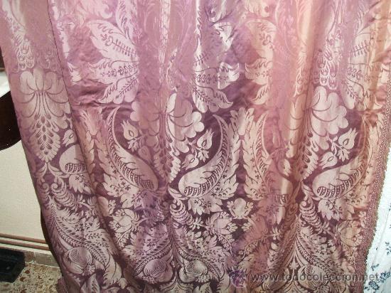 Antigüedades: cortinas damasco de seda (dos pares) - Foto 6 - 21699389