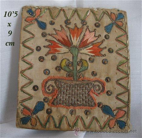 BORDADO ANTIGUO EN SEDA E HILOS METALICOS (Antigüedades - Moda - Bordados)