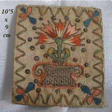 Antigüedades: BORDADO ANTIGUO EN SEDA E HILOS METALICOS. Lote 26336554