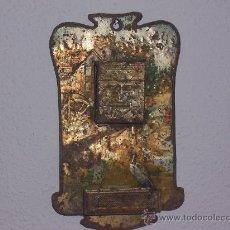 Antigüedades: CUADRITO RECIBIDOR DE HOJALATA PINTADO , DE VARIOS SIGLOS DE ANTIGUEDAD ( PARA RESTAURAR ). Lote 27077893