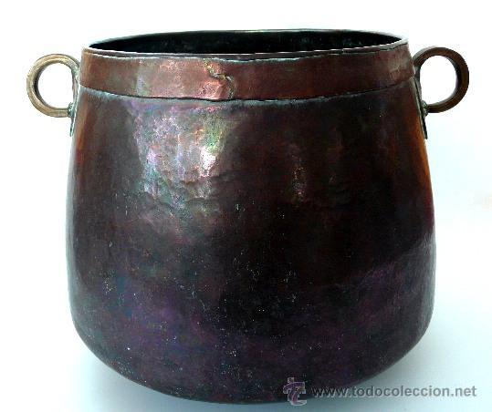 IMPECABLE CALDERA DE COBRE MARTILLADO - S. XIX (Antigüedades - Técnicas - Rústicas - Utensilios del Hogar)