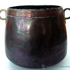 Antigüedades: IMPECABLE CALDERA DE COBRE MARTILLADO - S. XIX. Lote 26421539