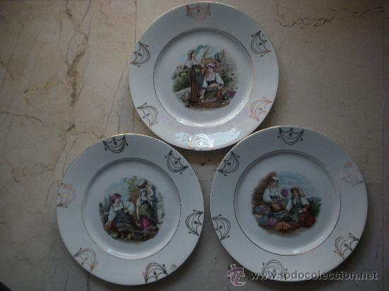 TRES ANTIGUOS PLATOS DE SAN JUAN DE AZNALFARACHE DE 24 CM. DE DIAMETRO (Antigüedades - Porcelanas y Cerámicas - San Juan de Aznalfarache)