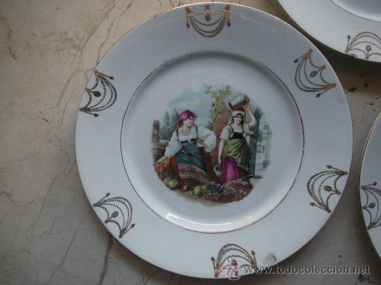 Antigüedades: tres antiguos platos de san juan de aznalfarache de 24 cm. de diametro - Foto 2 - 27107862