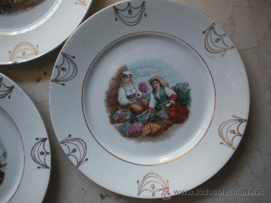 Antigüedades: tres antiguos platos de san juan de aznalfarache de 24 cm. de diametro - Foto 3 - 27107862