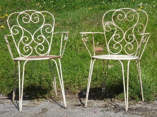 Antigua pareja de sillas de hierro de jard n comprar for Sillas hierro jardin