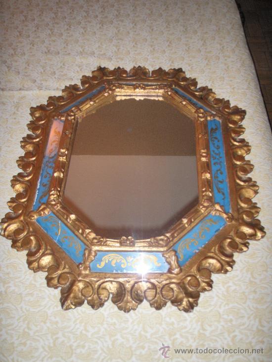 Espejo dorado talla y cristal pintado 60 x 50 c comprar for Espejo 120 x 50